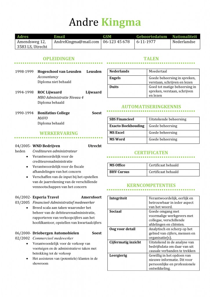 cv voorbeeld Preston, voorbeeld cv (administratief medewerker)