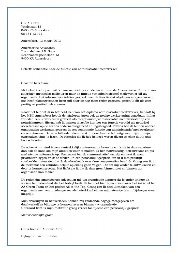 sollicitatiebrief administratie Voorbeeld Sollicitatiebrief Administratief Medewerker | Incl  sollicitatiebrief administratie