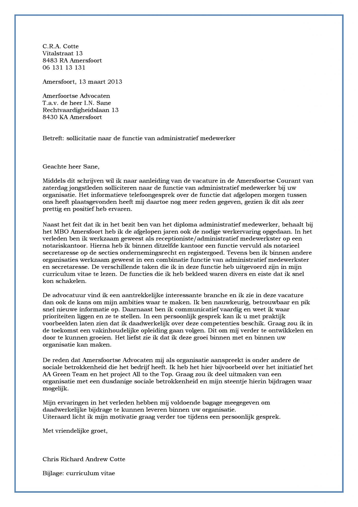 Sollicitatiebrief administratief medewerker (met rand