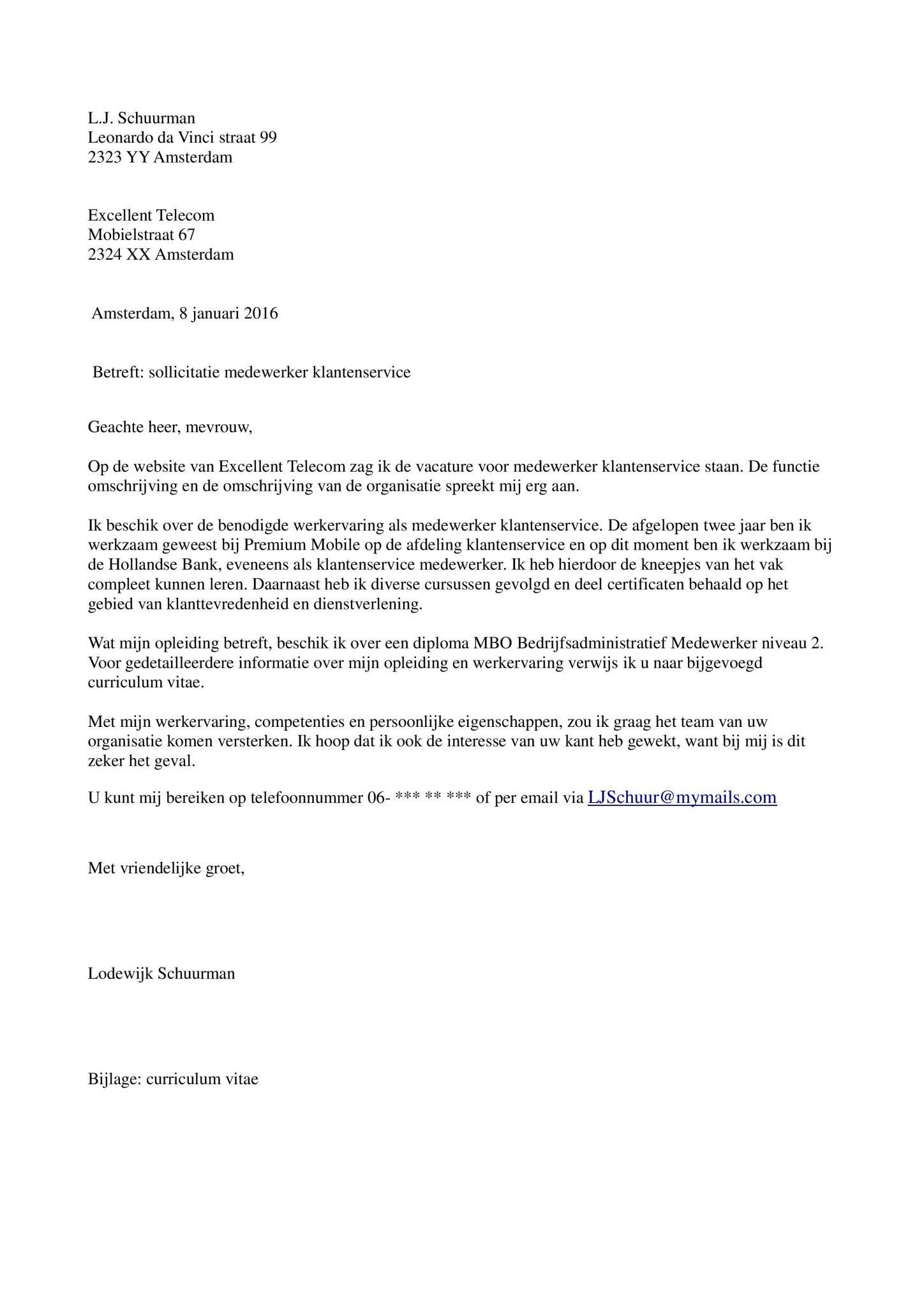 motivatiebrief voorbeeld klantenservice Sollicitatiebrief klantenservice (callcenter)   Sollicitatiebijbel.nl