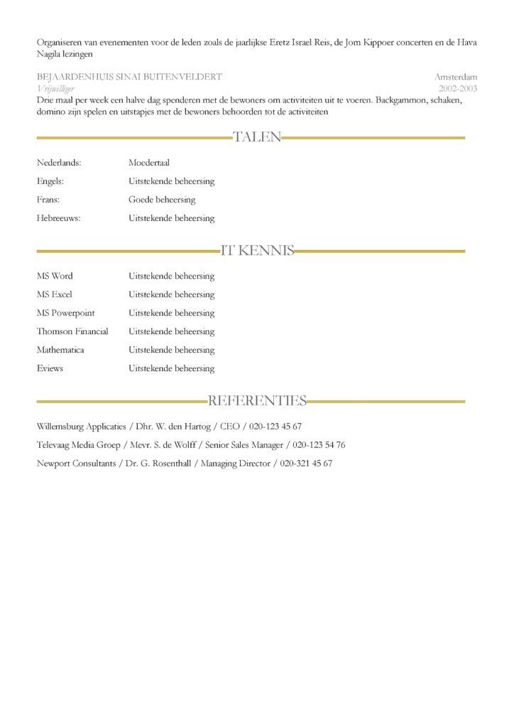 CV voorbeeld Sheffield (Gold Blue) pagina 2
