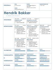 CV Voorbeeld Coventry (Blue Bank), gratis voorbeeld curriculum vitae, automonteur, verkoper, sales.