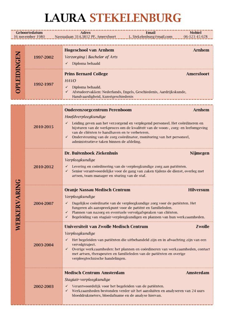 CV Voorbeeld Lancaster (Red Roma), 1/2, hoe ziet een curriculum vitae eruit?, gratis cv sjabloon zorg, curriculu, vite verpleegkundige, pagina 1