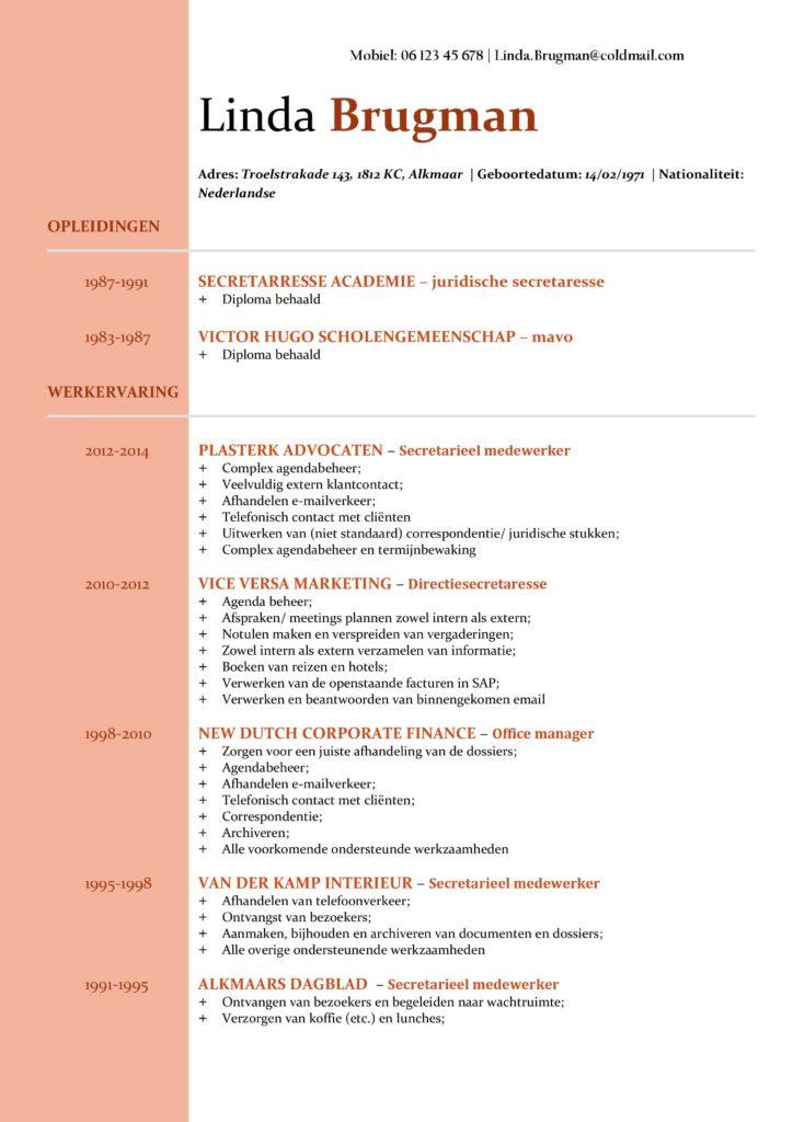 CV Voorbeeld Newport (Red Rose) 1/2, gratis voorbeeld cv, cv secretaresse, cv administratie, cv verkoopster