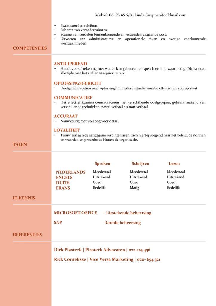 CV Voorbeeld Newport (Red Rose) 2/2, gratis voorbeeld cv, cv secretaresse, cv administratie, cv verkoopster