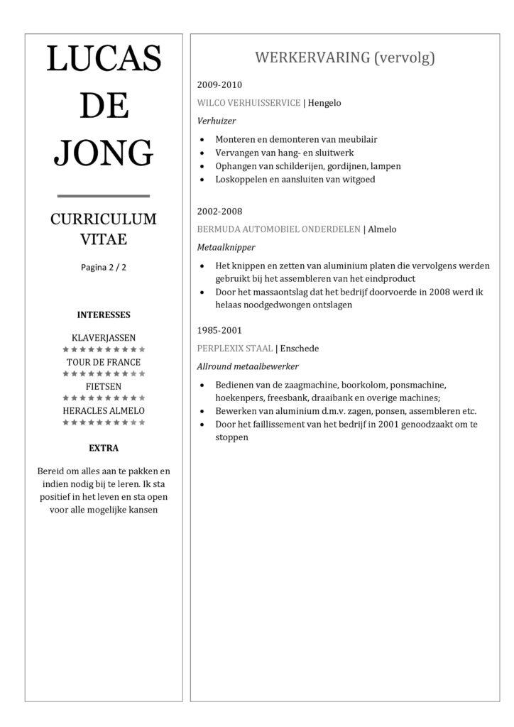 CV Voorbeeld Chesterfield (Gray Goose) 2/2, een cv maken voor sollicitatie, pagina 2