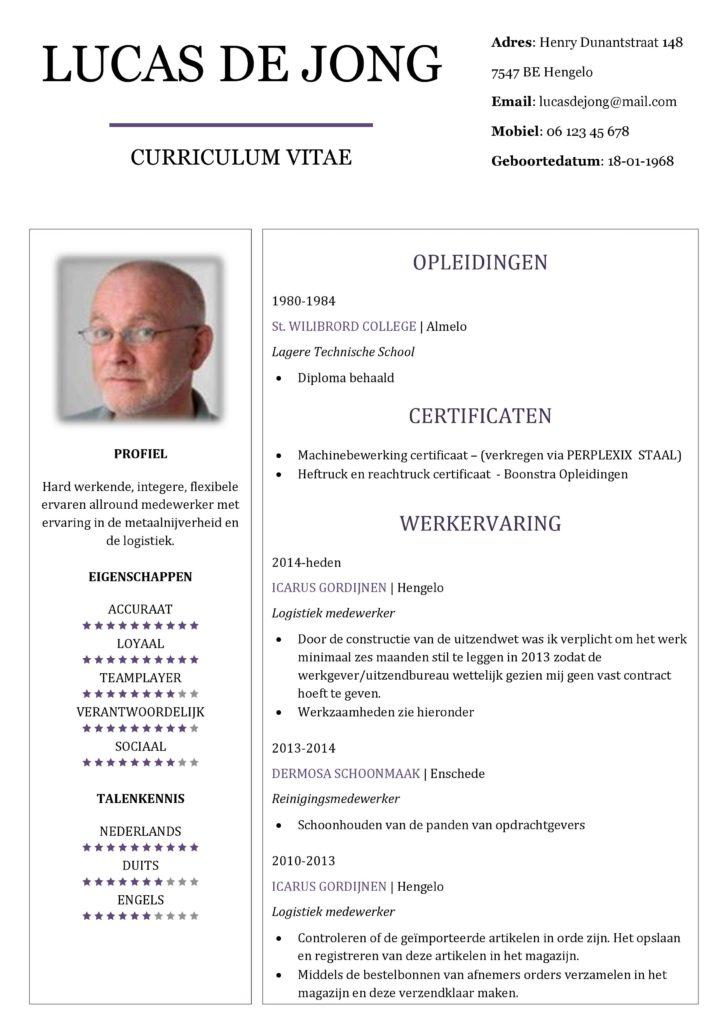 CV Voorbeeld Chesterfield (Purple Rain 1/2, curriculum vitae voorbeeld downloaden, pagina 1