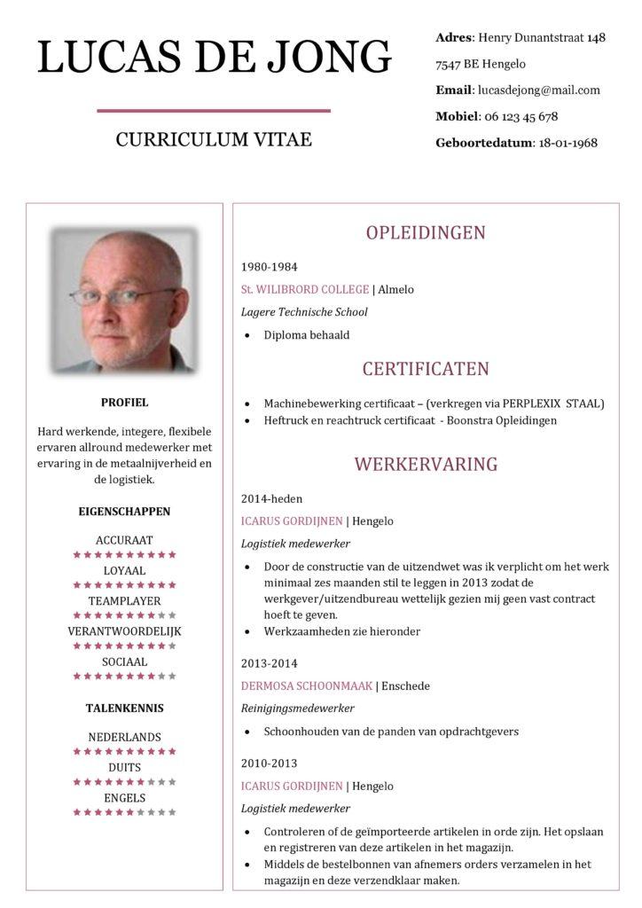 CV Voorbeeld Chesterfield (Red Rose) 1/2, cv maken in word geheel gratis-001