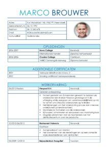 CV Voorbeeld Leicester (Inter Blue) 1/2, cv horeca, cv magazijnkracht, cv orderpicker, gratis voorbeeld cv