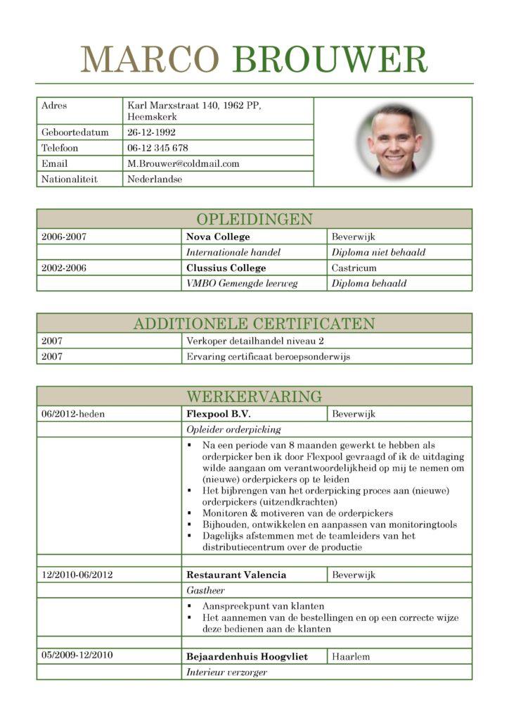 CV Voorbeeld Leicester (Gentle Green) 1/2, gratis curriculum vitae, horeca, logistiek of andere branches, voorbeeld curriculum vitae