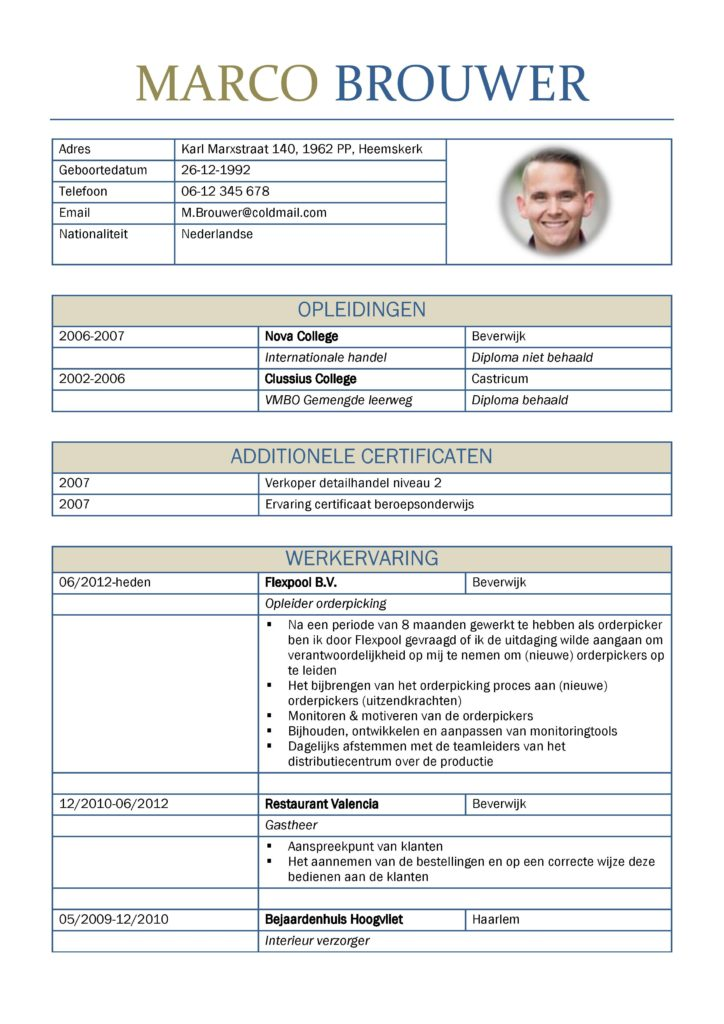 CV Voorbeeld Leicester (Benetton Days) 1/2, originele curriculum vitae, voorbeeld cv