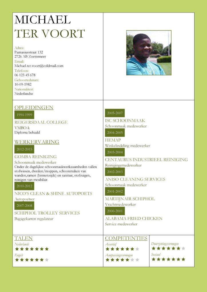 CV Voorbeeld Kingston (Green Grass), cv productie medewerker, cv schoonmaker, cv groene thema