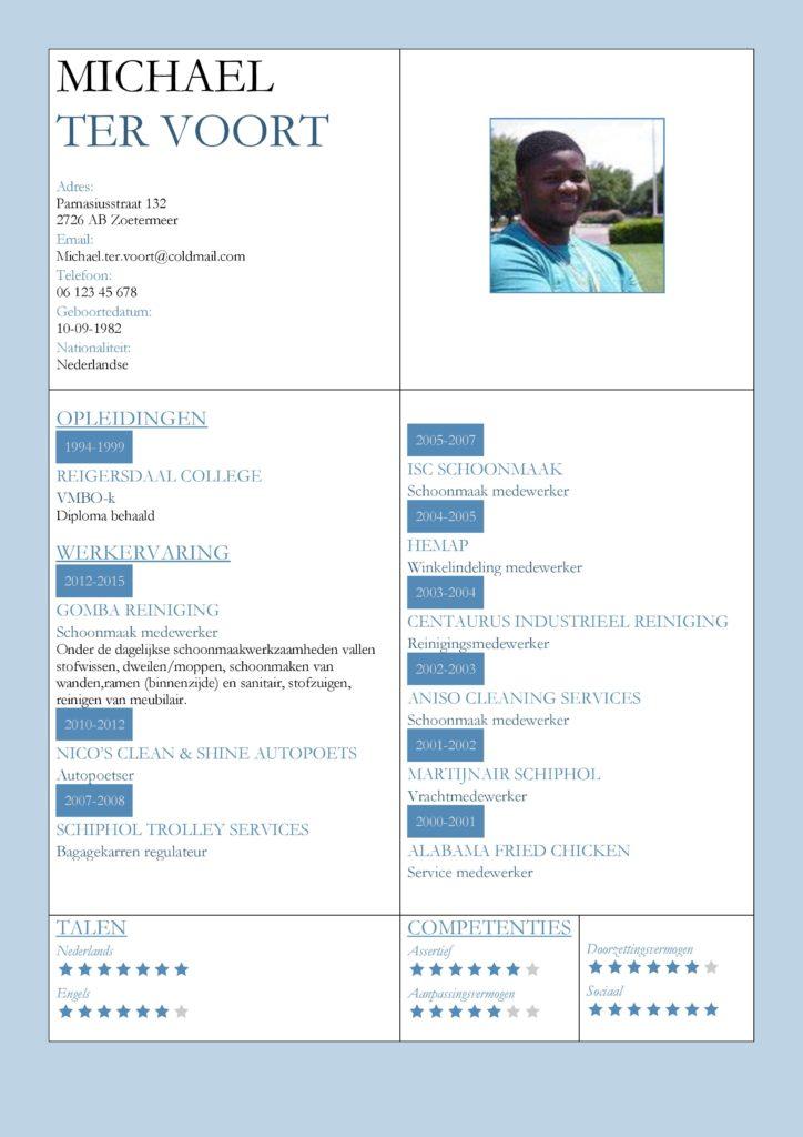 CV Voorbeeld Kingston (Light Blue), cv productie medewerker, cv schoonmaker, gratis voorbeeld cv