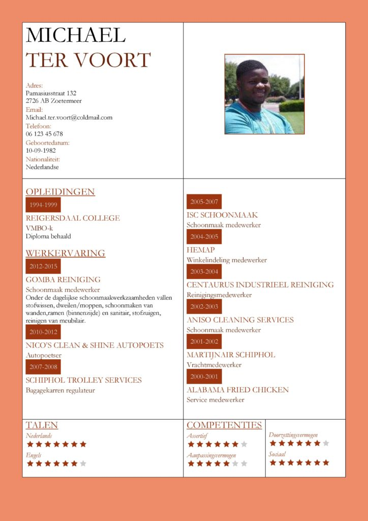 CV Voorbeeld Kingston (Orange Red), cv productie medewerker, cv schoonmaker, cv rood oranje thema