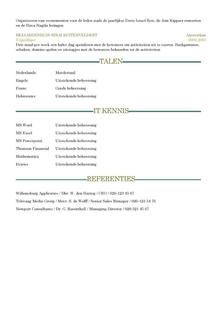 CV Voorbeeld Sheffield (Dark Green) 2/2