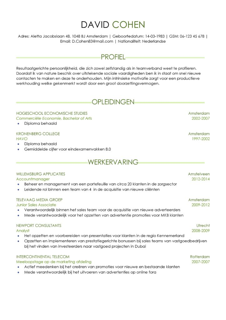 CV Voorbeeld Sheffield (Light Green) 1/2