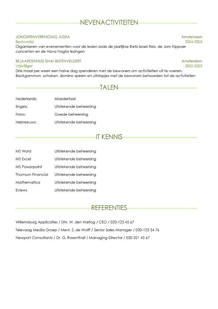 CV Voorbeeld Sheffield (Light Green) 2/2