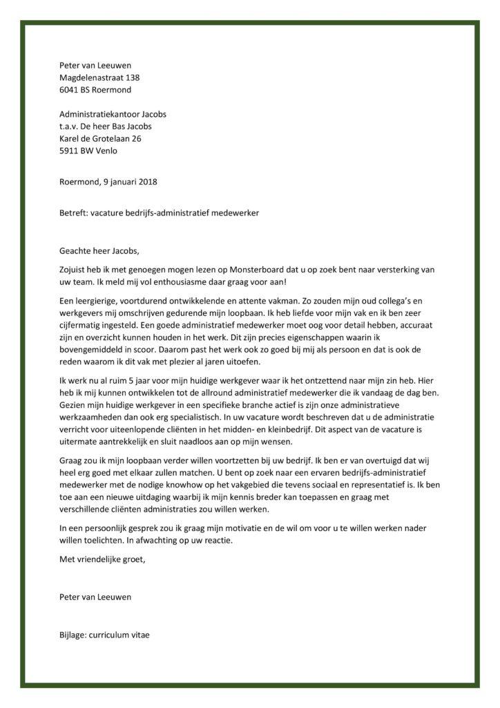 motivatiebrief voor administratief medewerker Sollicitatiebrief Bedrijfsadministratief Medewerker