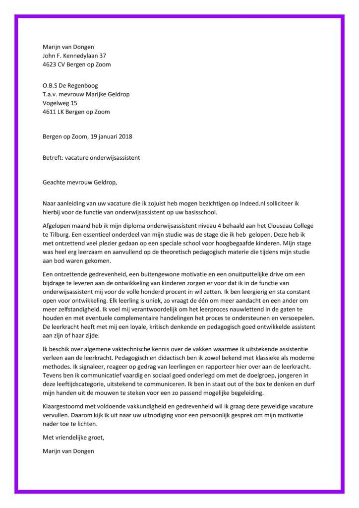 Sollicitatiebrief Onderwijsassistent (starter)   Sollicitatiebijbel.nl