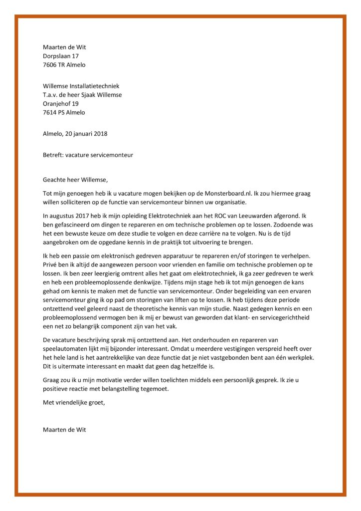 motivatiebrief monteur Sollicitatiebrief Servicemonteur | Junior Monteur