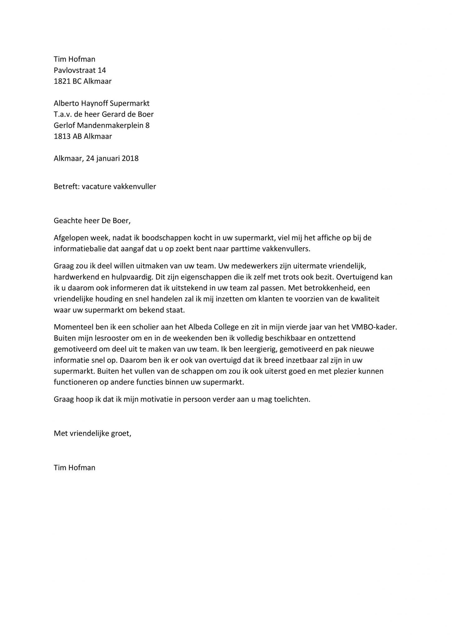 Sollicitatiebrief Vakkenvuller   Sollicitatiebijbel.nl