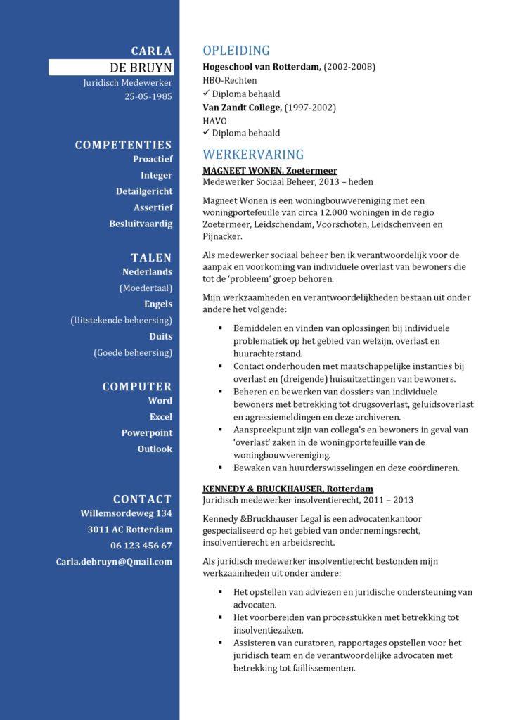 CV Sjabloon Bradford 1-1, cv voorbeeld juridisch medewerker, jurist