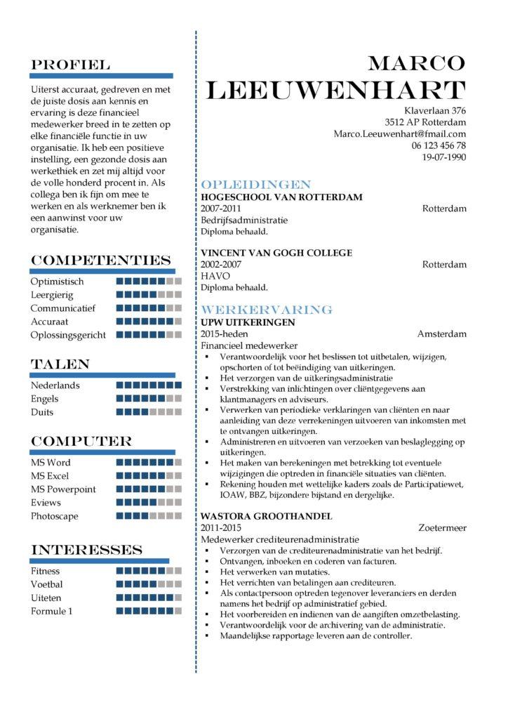 CV Sjabloon Greenwich 1-1, voorbeeld cv financieel medewerker