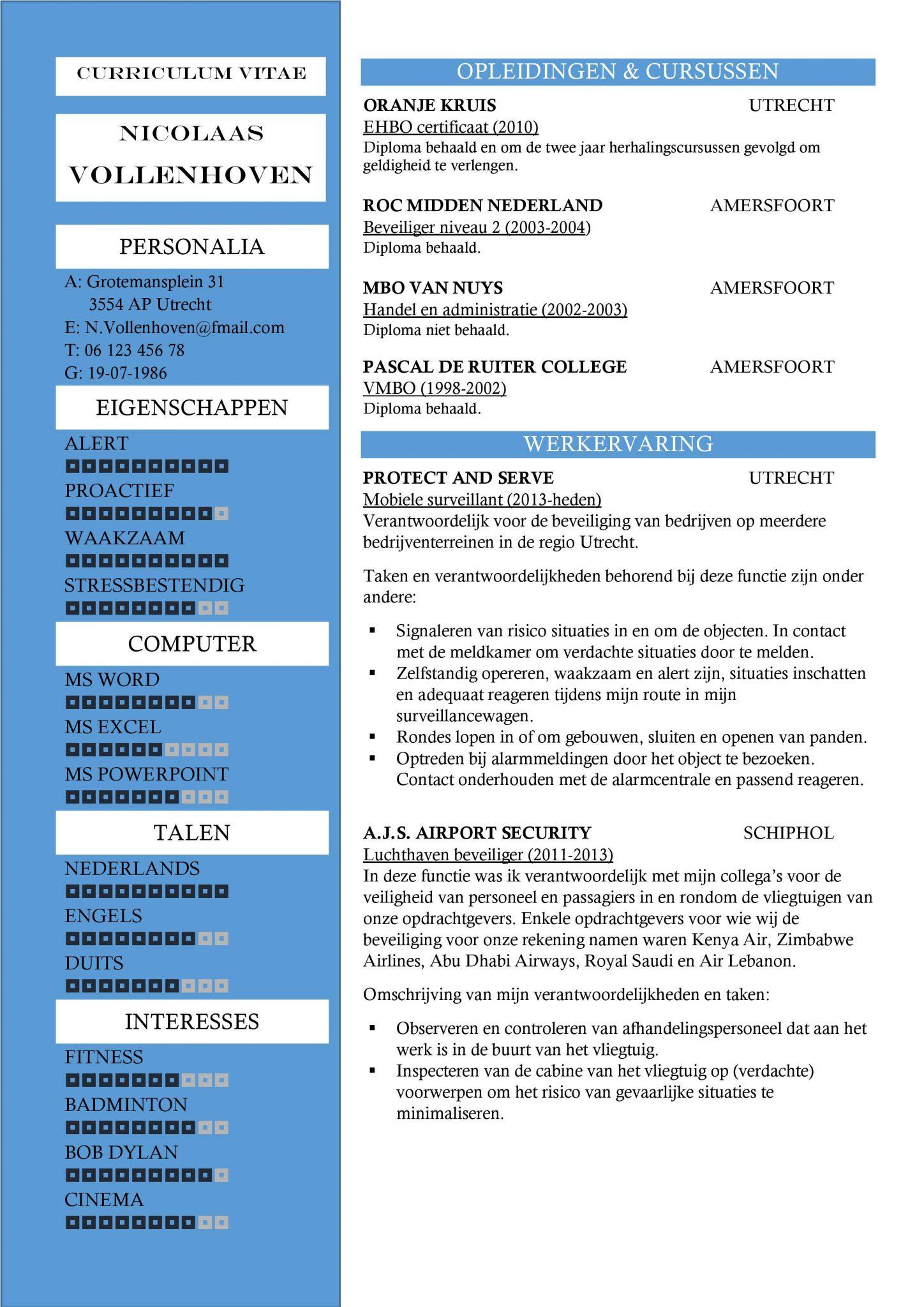 Magnifiek Gratis CV Sjabloon Voorbeelden | CV Templates / Sjablonen in Word @HF68