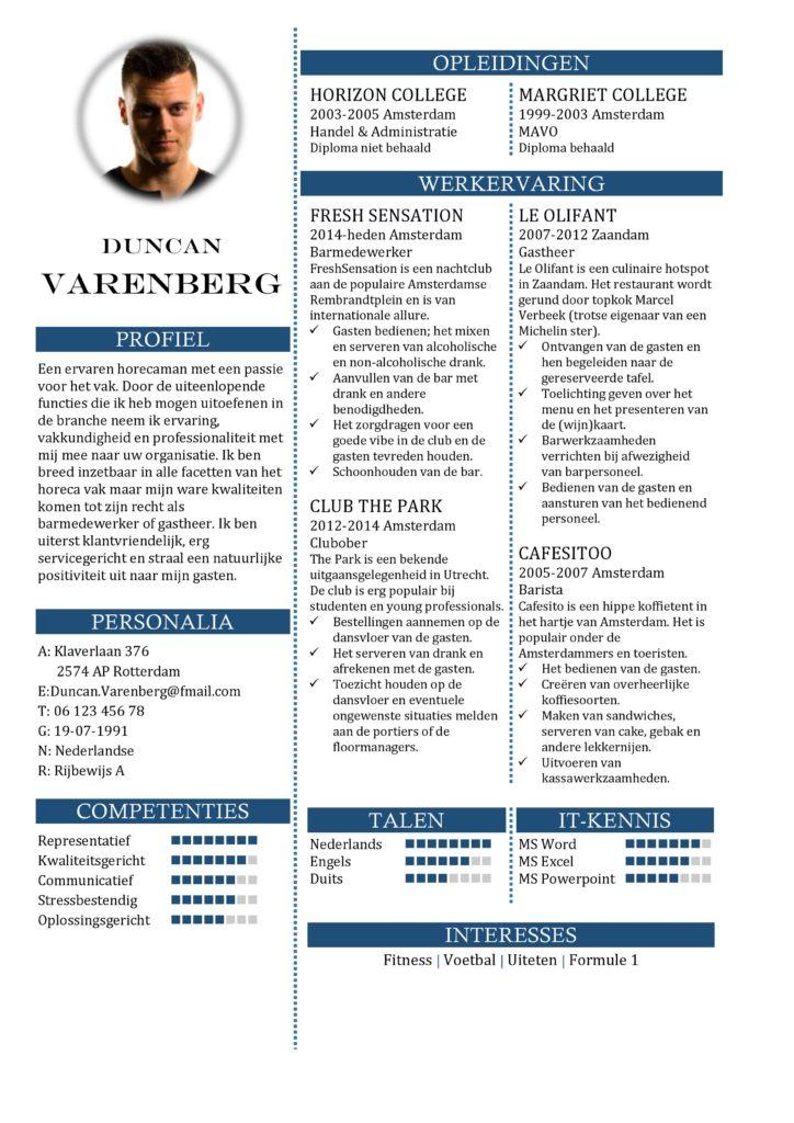 CV Sjabloon Portsmouth 1-1, voorbeeld cv barmedewerker, ober, barista, gastheer