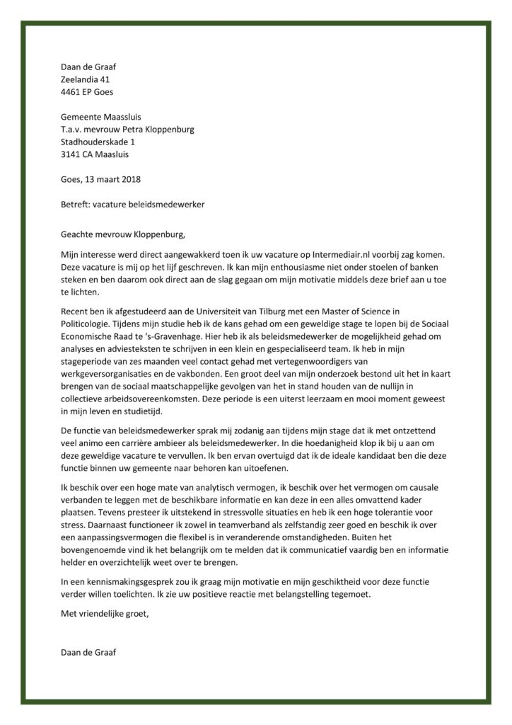 motivatiebrief intermediair Sollicitatiebrief Beleidsmedewerker | Originele Top Motivatiebrief! motivatiebrief intermediair