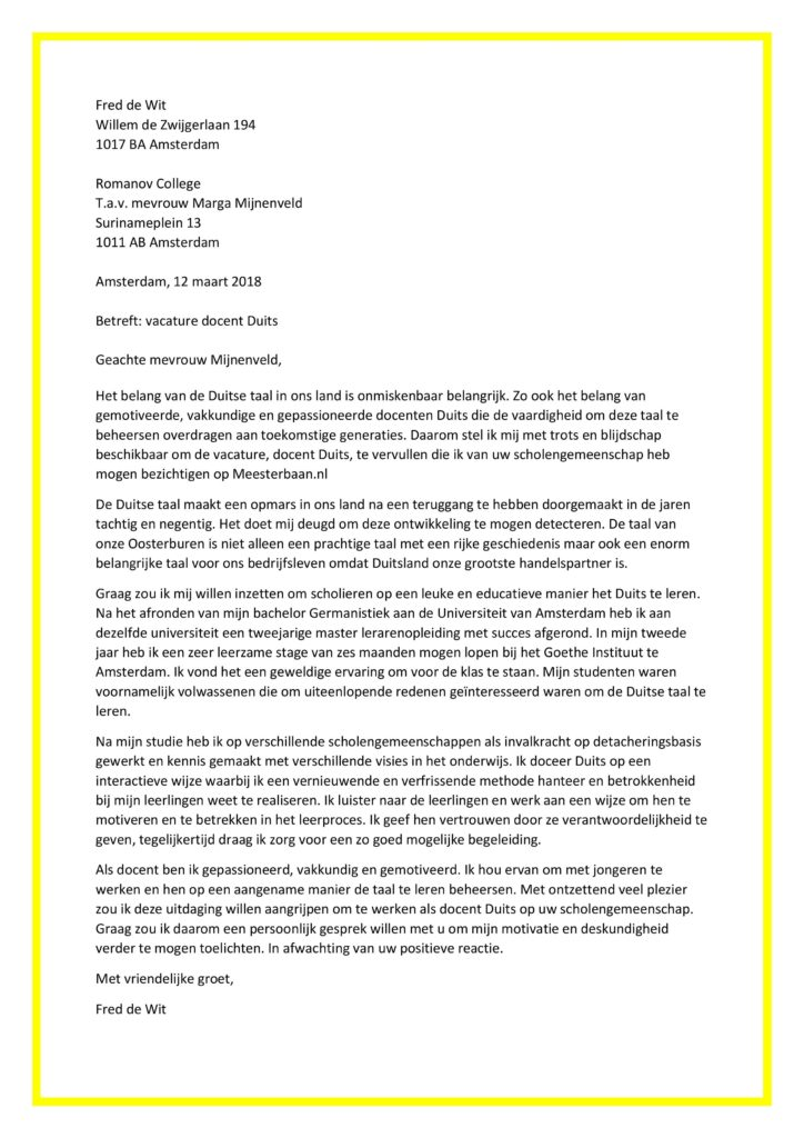 Sollicitatiebrief Docent Duits | Lehrer Deutsch | Origineel en Gratis!