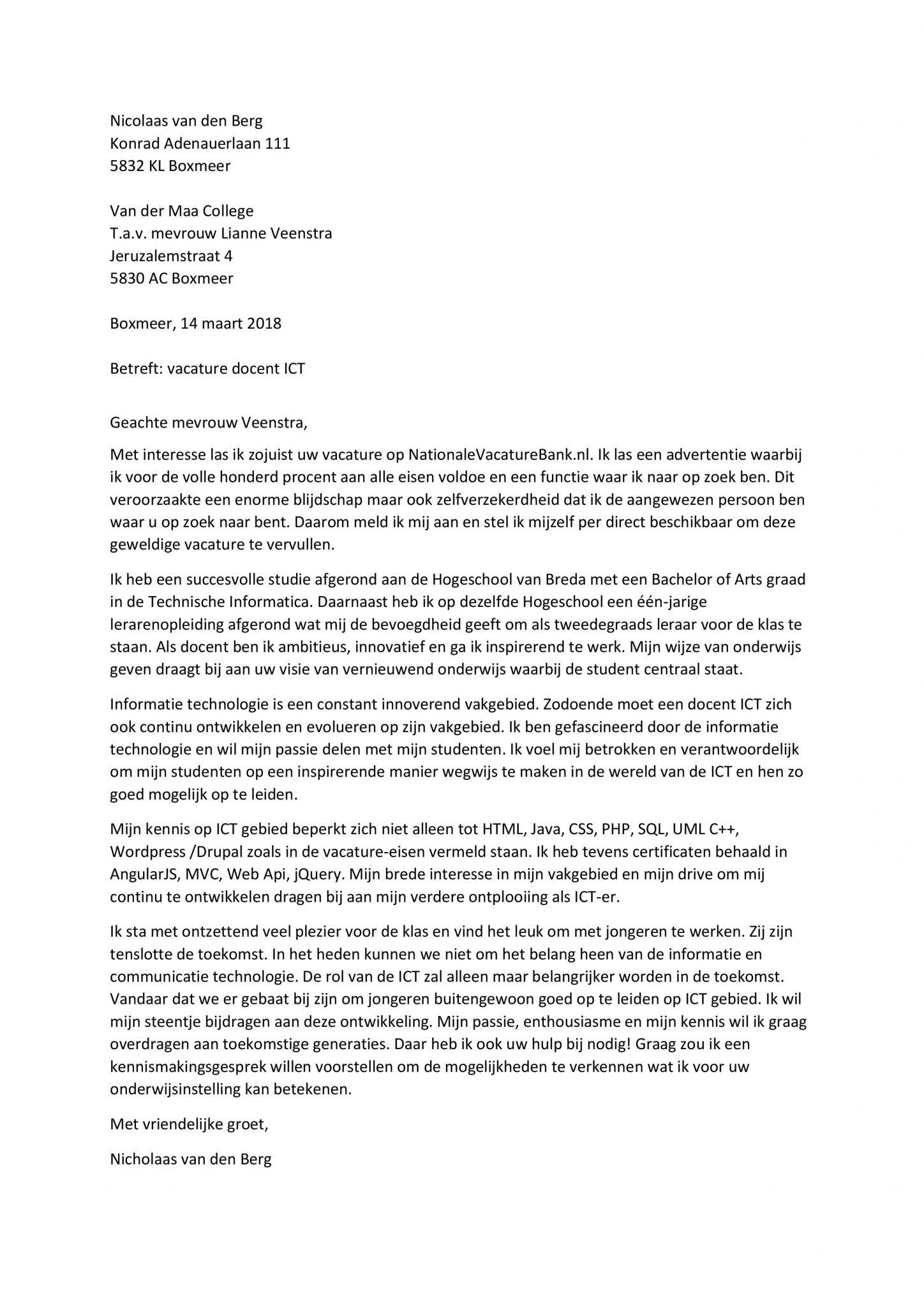 motivatiebrief ict Sollicitatiebrief Docent ICT   Sollicitatiebijbel.nl