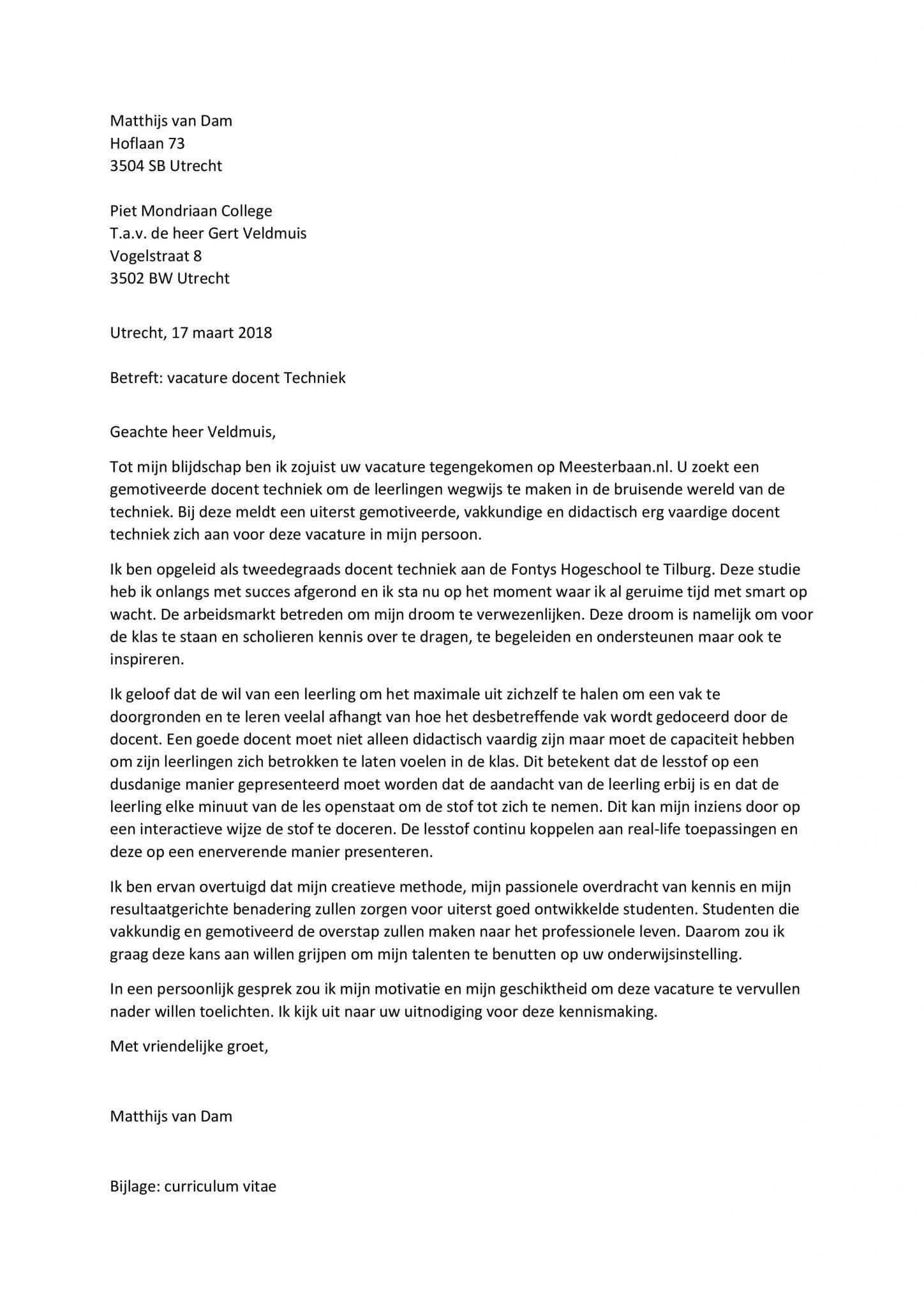 sollicitatiebrief techniek Sollicitatiebrief Docent Techniek   Sollicitatiebijbel.nl sollicitatiebrief techniek