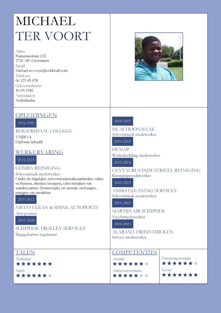 CV Voorbeeld Kingston