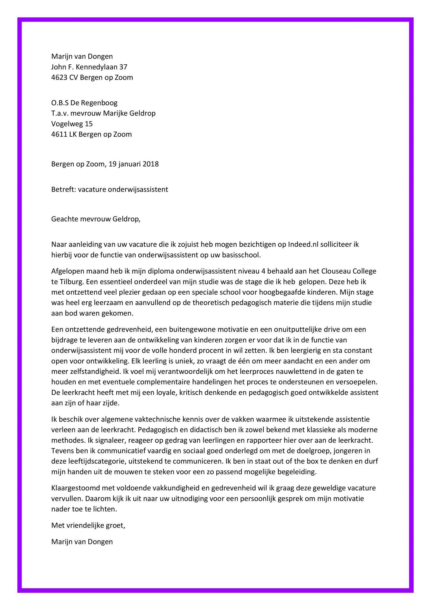 Super Sollicitatiebrief Onderwijsassistent (starter) - Sollicitatiebijbel.nl UF-04