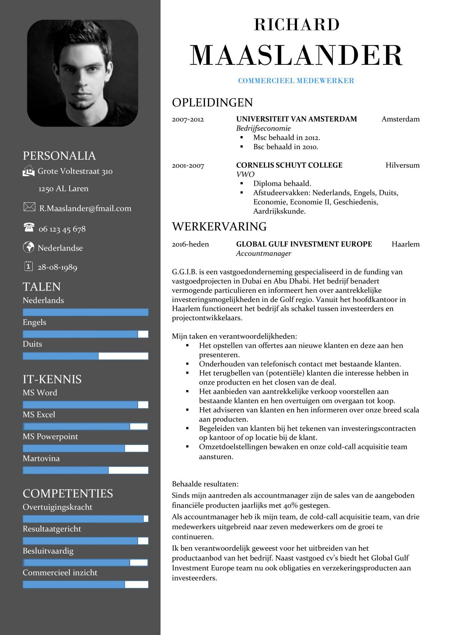Ongebruikt Gratis CV Sjabloon Voorbeelden | CV Templates / Sjablonen in Word RC-64